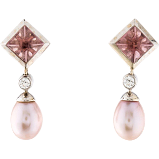 Stunning Vintage Estate 18K White Gold Tiffany & Co. Dangle Pierced Earrings  with Brilliant Diamonds, Pink Cabochon Tourmaline Accents and Cultured Pink Pearls