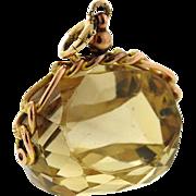 Striking and Impressive Ladies' 14k Gold Huge 45mm x 36mm Smokey Topaz Pendant for Necklace or Bracelet