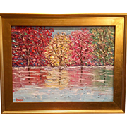 """Abstract Trees Landscape Impasto"", Original Oil Painting by artist Sarah Kadlic, 18x24"" Gilt Leaf Wood Frame"