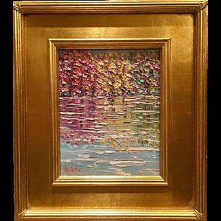 """Abstract Trees Landscape Impasto"", Original Oil Painting by artist Sarah Kadlic, 13x15"" Giltwood Frame Plein Air"