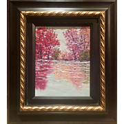 """""""Abstract Reds & Pinks of Trees on Water Landscape"""", Original Oil Painting by artist Sarah Kadlic, Gilt Leaf Frame 13x15"""