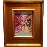 """Abstract Trees on the Water Landscape"", Original Oil Painting by artist Sarah Kadlic, Gilt Leaf Frame 10x12"