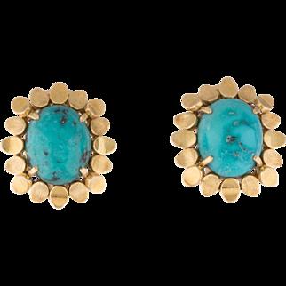 "Gorgeous Vintage 18k Gold Turquoise Cabochon Clip Earrings, 0.70"""