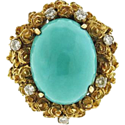 Stunning 1960s Vintage Estate Turquoise Diamond Retro 18k Gold Mid Century Cocktail Statement Ring
