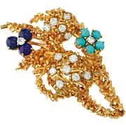 """Stunning Impressive French 18k Gold, 0.98cttw Diamond, Turquoise and Lapis Pin/Pendant Brooch, Maker's Mark """"R C"""""""
