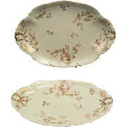 "Two Beautiful Antique Haviland Limoges Pink Floral Platters 13.5"", 11.5"""
