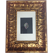 Original Drawing Gouache Painting of Studio Jewelry Designer to Tiffany, Van Cleef & Cartier Gilt Framed