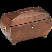 Burled and Inlaid Wood Victorian Tea Caddy, 1900s