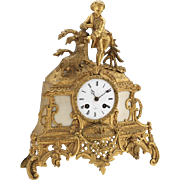 Henry Marc Paris d'Ore Bronze Baroque Style Mantel Clock by Vincenti et Cie, Medaille D'Argent, 19th Century