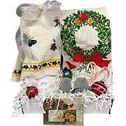 Vintage Inspired Holiday Gift Crate Set - Christmas Holiday Tea Towels, Shiny Brite Ornaments, Bundt Cake Tins & More!
