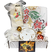 Vintage Inspired Gift Set - Thanksgiving Tablecloth, Porcelain Gilt Haviland Dish, Shiny Brite Ornaments, Embroidered Tea Towels & More!