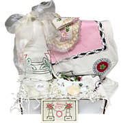 Vintage Inspired Gift Set - Pink & White Floral Tablecloth, Embroidered Tea Towel, Haviland Porcelain Dish, Doily Linens & More