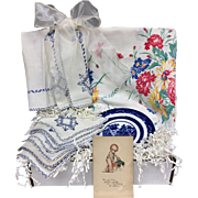 Vintage Inspired Crate Gift Set - Wilendur Tablecloth, Embroidered Linen & More!
