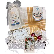Vintage Inspired Gift Set - Gold Floral Tablecloth, Embroidered Linens, Shiny Brite Christmas Ornaments