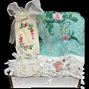 Vintage Inspired Gift Set - Pink Floral Tablecloth, Embroidered Linens & More