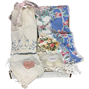 Vintage Inspired Gift Set - Vintage Tablecloth, Embroidered Napkin Guest Towel Linens & More!
