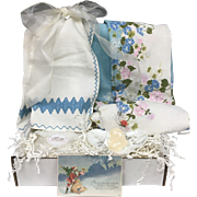 Vintage Inspired Gift Set Pink Blue Floral Tablecloth, Embroidered Linen Guest Towel, Haviland Porcelain Dish & More