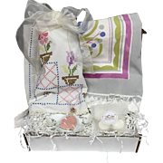 Vintage-Inspired Crate Gift Set w/ Vintage Pink Tablecloth, Linen Embroidered Guest Towels, Table Runner, Handmade Soap Candles & Postcard