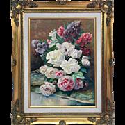 Beautiful and Impressive Retro Mid-Century Original Oil Painting Fine Art 12x16 With Gilt Wood Frame