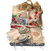 Vintage Inspired Gift Set - Pair Retro Tea Towels, Vintage Bundt Tins, Haviland Limoges Porcelain Soap Dish, Postcard