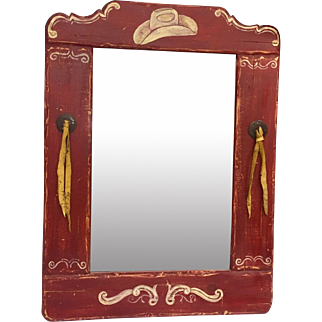 """Adorable Vintage Western Themed Mirror for Decorating, 18""""x24"""""""
