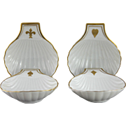 Beautiful Set of Four Vintage Vista Alegre Porcelain Shell Dishes with Card Playing Theme