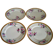 Beautiful Set of Four Antique Wm Guerin & Co. Limoges France Hand Painted Porcelain Salad/Dessert Plates