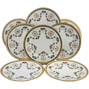 Eight Lovely Vintage Estate Gold and Floral French Limoges Dessert Plates