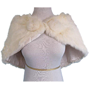 Vintage Fur Coat Jacket Bolero White Rabbit Good Condition! Size XS/S/M 2 4 6