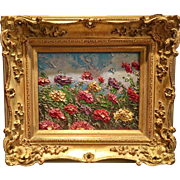 """Abstract Colored Wildflowers Impasto"", Original Oil Painting by artist Sarah Kadlic, 13""x15"" Gilt Leaf French Frame"