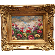 """""""Abstract Seascape Impasto"""", Original Oil Painting by artist Sarah Kadlic, 8x10"""" with Gilt Leaf French Frame"""