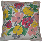 "Beautiful Pair of Wilendur Pillow Shams in a Lovely Tulip Dahlia Lilly Floral Pattern 14"" Square"