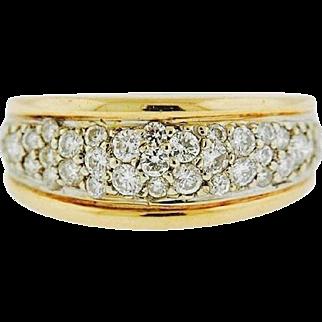 Beautiful 1980s 14k Gold Anniversary or Wedding 0.85 Carats G-H VS Diamond Pave Band