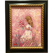 """""""Young Girl with Flowers"""", Original Oil Painting by artist Sarah Kadlic, 12x16"""""""