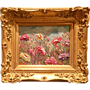 """Abstract Wildflowers Impasto"", Original Oil Painting by artist Sarah Kadlic, 8x10"" + Gilt Leaf French Frame"