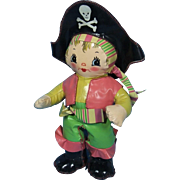"Unusual Vintage Pirate Doll Made of Vinyl ""Fabric"""