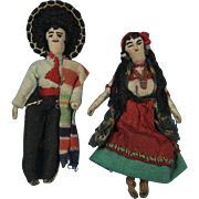 Early Cloth Mexican Doll Pair