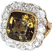 Antique 12 Ct Chrysoberyl Diamond and 14K Gold Halo Ring