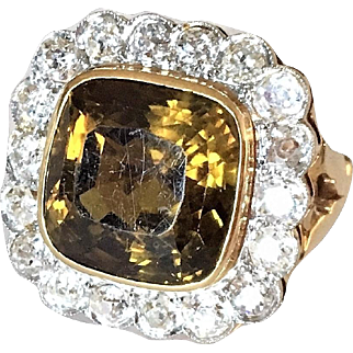 Antique 12 Ct Chrysoberyl Diamond and 14K Gold Halo Ring