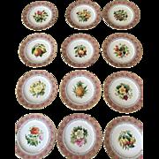 12 Antique Minton Dessert Plates