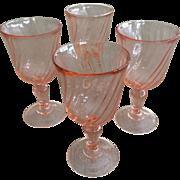 3 Vintage Arcoroc Pink Swirl Stemmed Wine Glasses