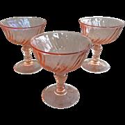 3 Vintage Arcoroc Pink Swirl Stemmed Sherbet Glasses