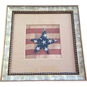 Antique American Flag with Hand Stitching, Framed Under Museum Glass