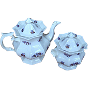Antique Ironstone Teapot and Sugar Bowl in Chelsea Grape Pattern with Copper Luster