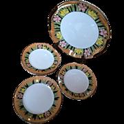 7pc Noritake Lusterware Cake Plate and 6 Dessert Plates Dinnerware Set