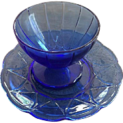 Newport Hairpin Sherbet Glass and Plate in Cobalt Blue Depression Glass