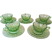 Set of 5 Anchor Hocking Depression Glass Block Optic Cups and Saucers
