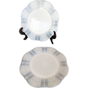 "2 American Sweetheart White Opalescent Monax Depression Glass MacBeth Evans 8"" Salad Plate"