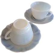 2 American Sweetheart White Opalescent Monax Depression Glass MacBeth Evans Cup and Saucers