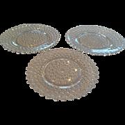 Set of 3 Duncan and Miller Hobnail Depression Glass Plates